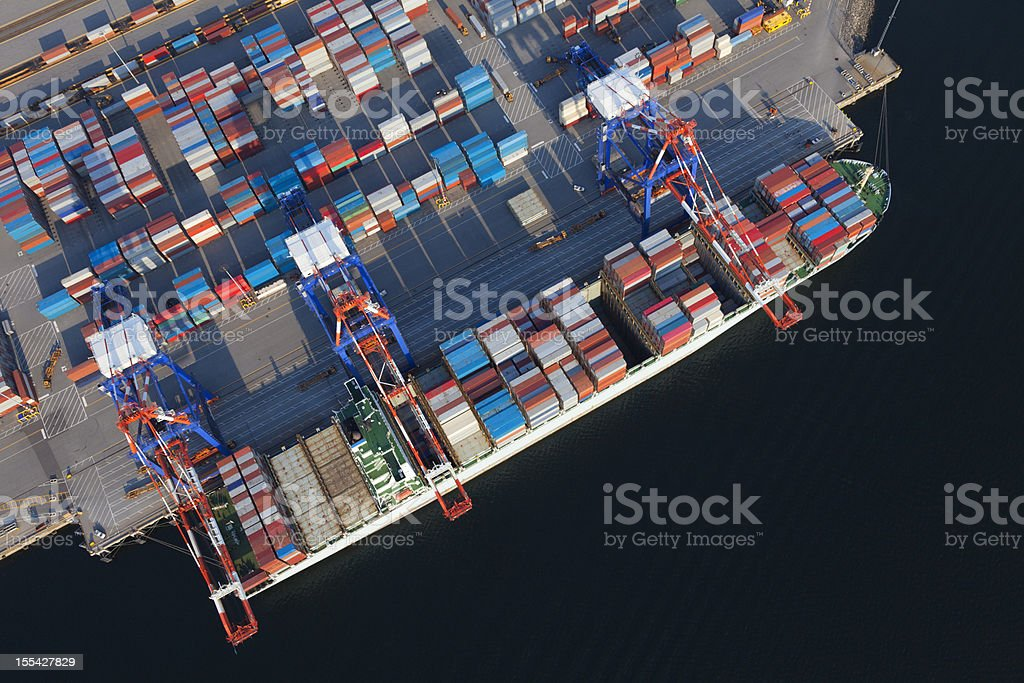 Container Ship Overhead stock photo