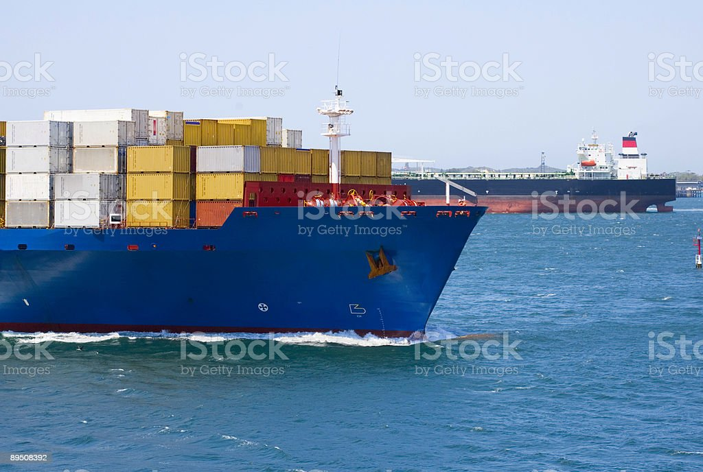 Container Ship Passing Oil Tanker royalty-free stock photo