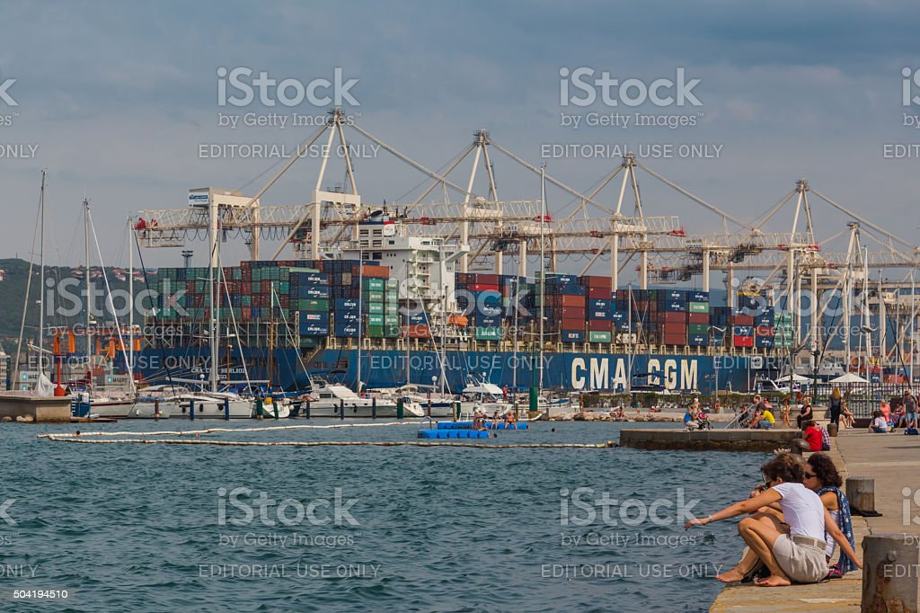 Container ship. stock photo