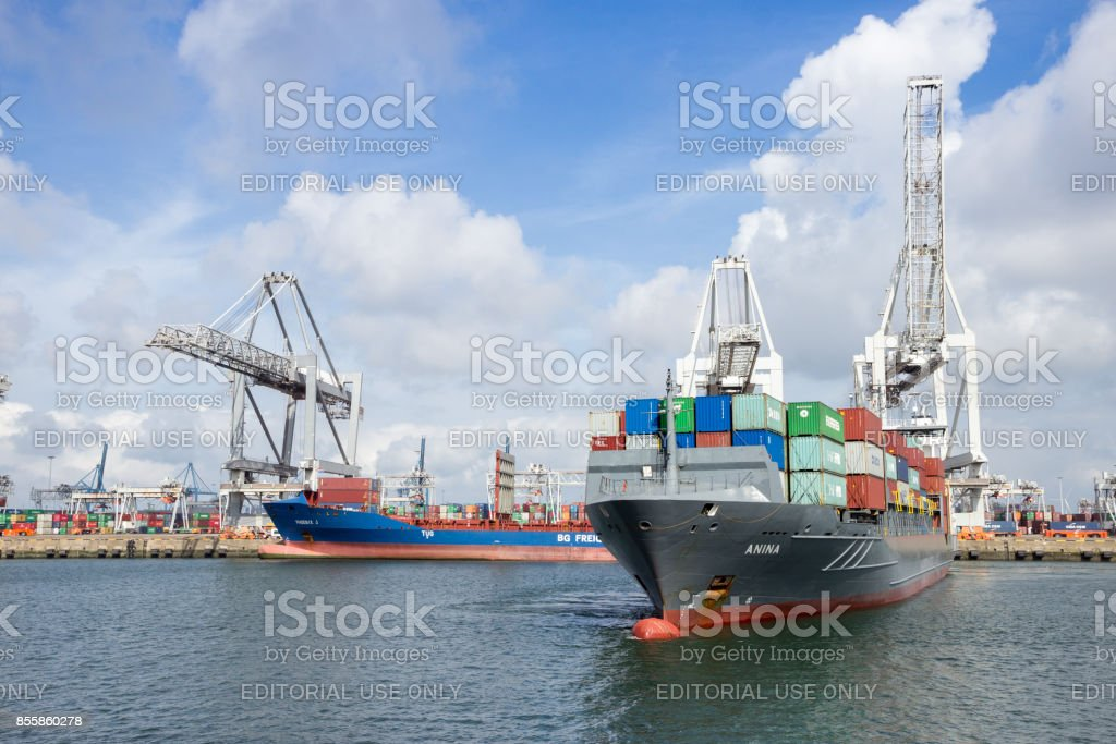 Container ship Port of Rotterdam stock photo