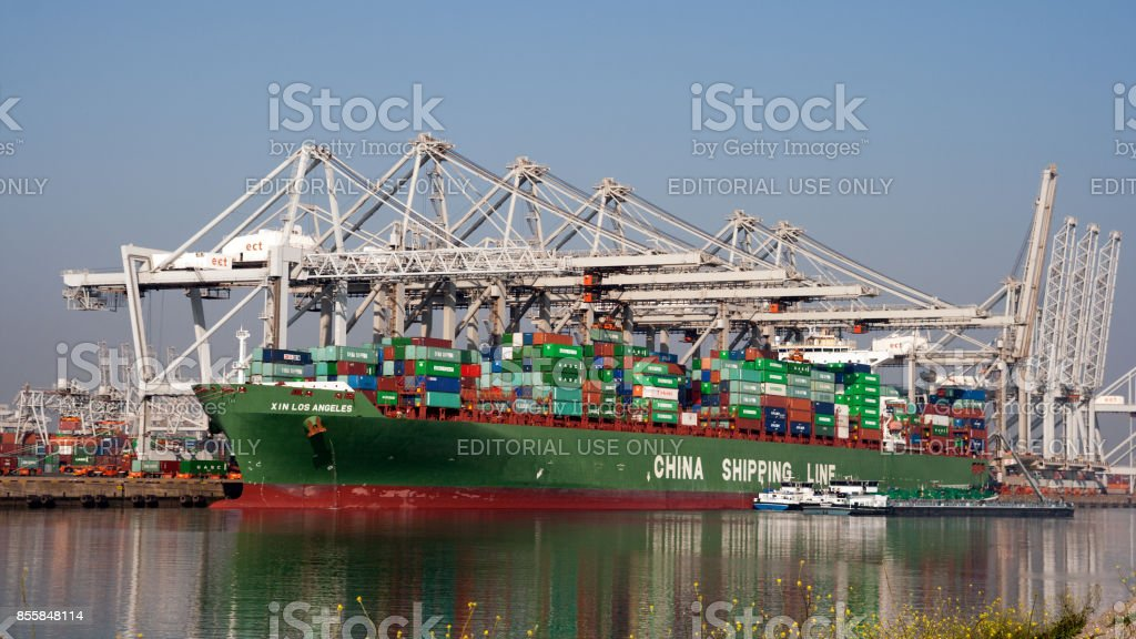 Container ship port stock photo