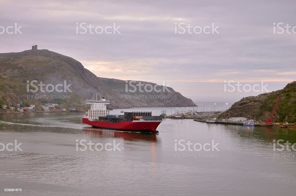 Container Ship Porting At St John's stock photo