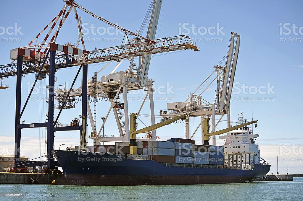 Container ship, South Africa stock photo