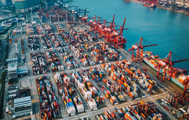 container ship terminal in China stock photo