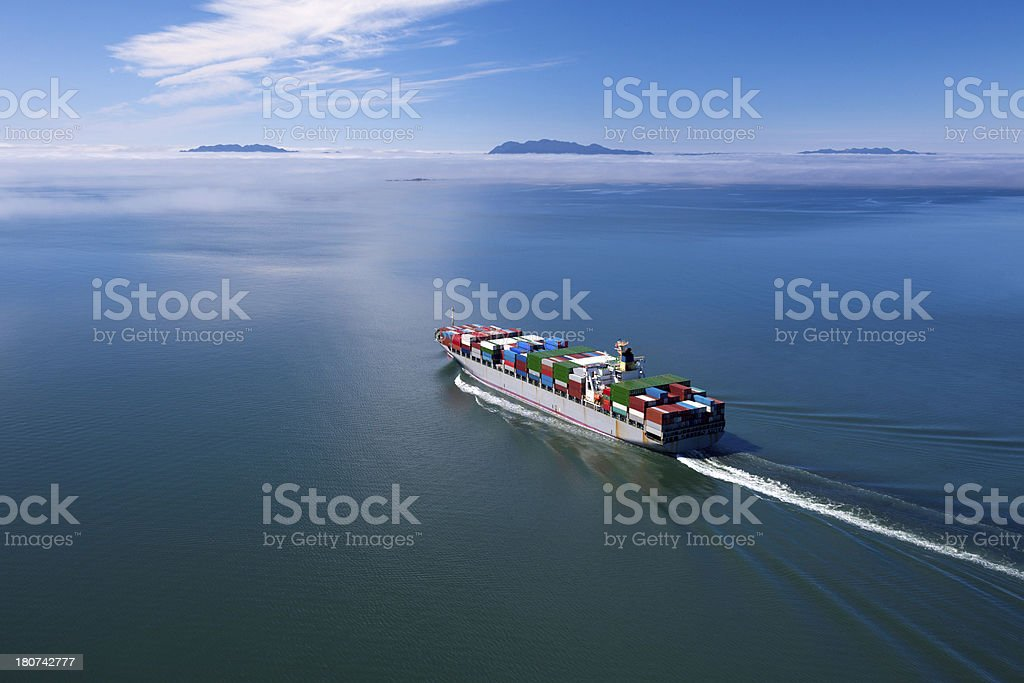Container Ship, Wide Angle royalty-free stock photo