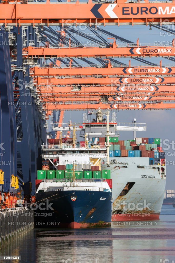 Container shipping port stock photo