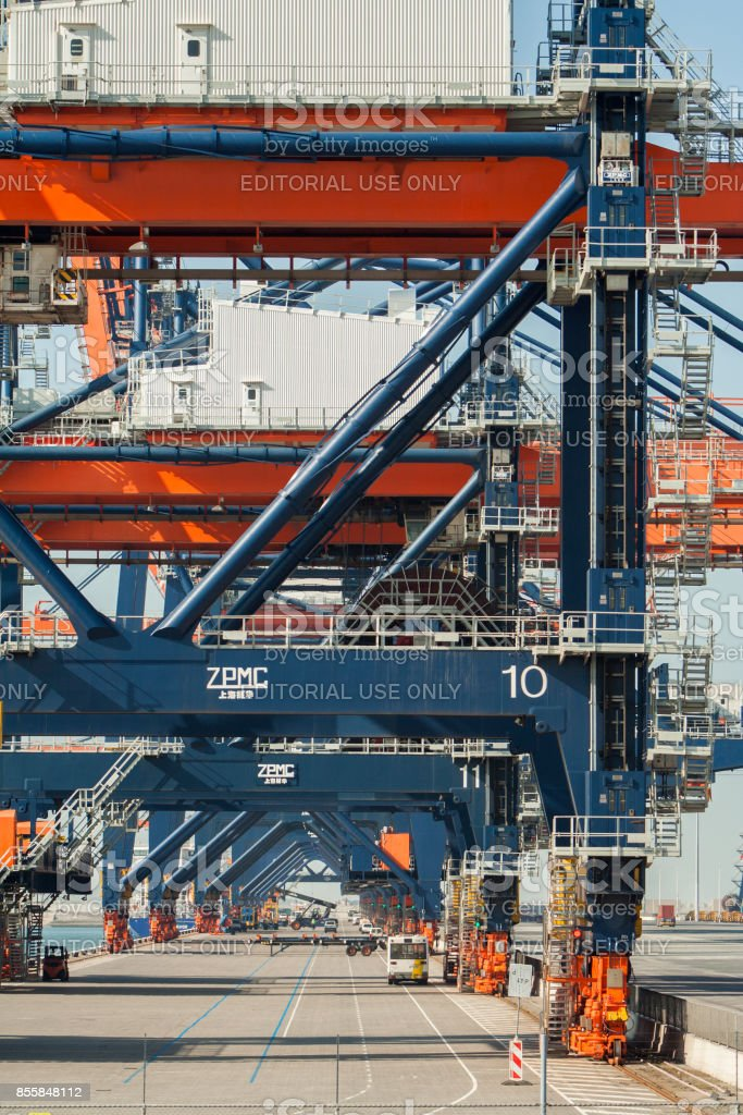 Container shipping terminal stock photo