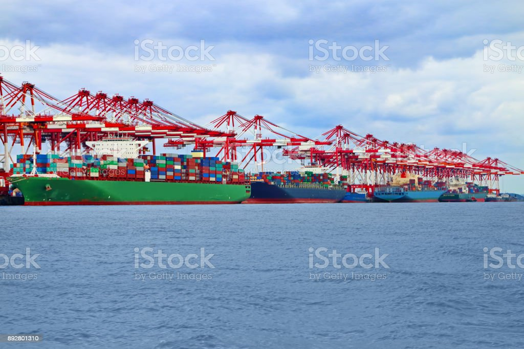 Container ships at commercial dock stock photo