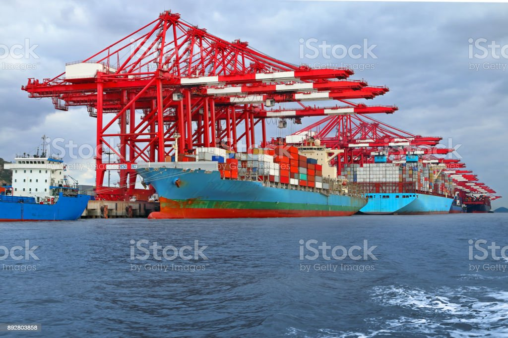 Container ships at container port stock photo