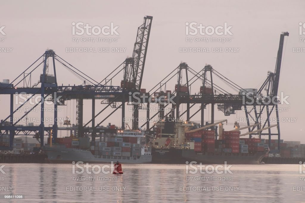 Container ships at Felixstowe Port stock photo