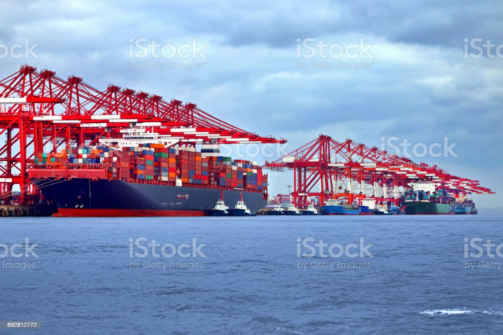 Container ships at port stock photo