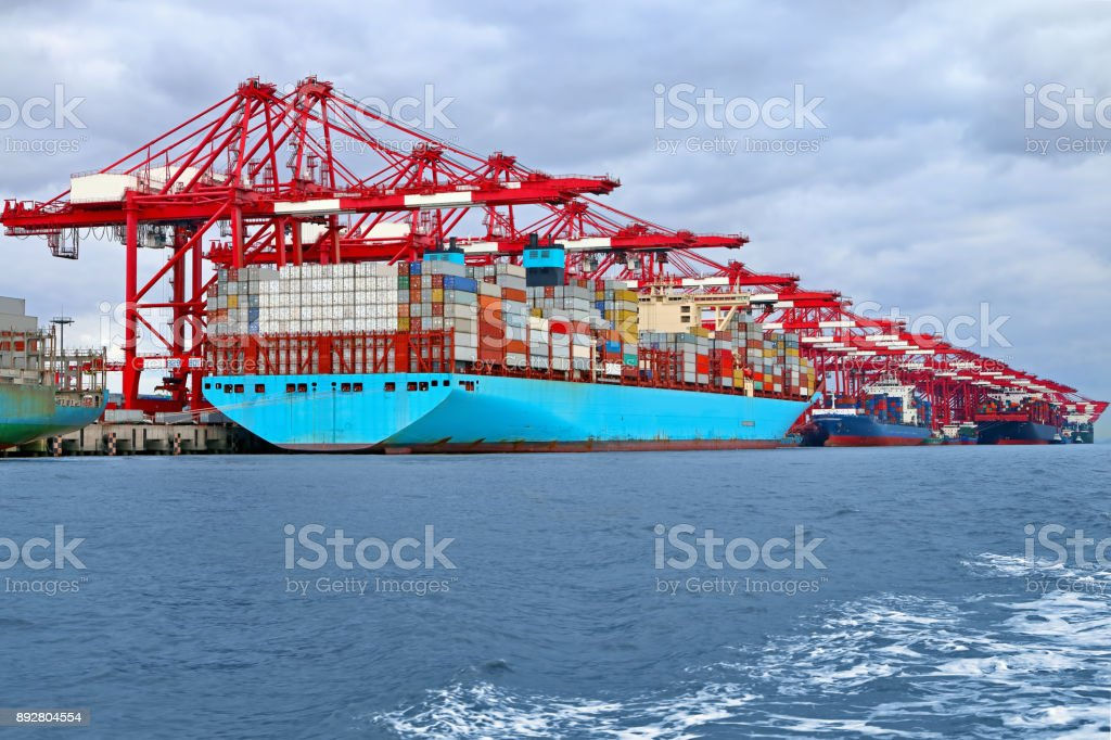 Container ships at Shanghai Port stock photo