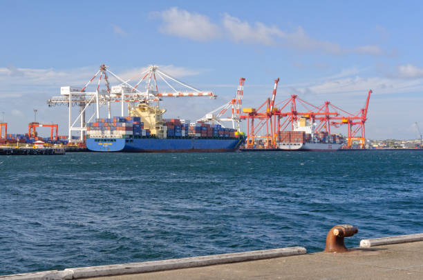 Container ships being loaded - Fremantle stock photo