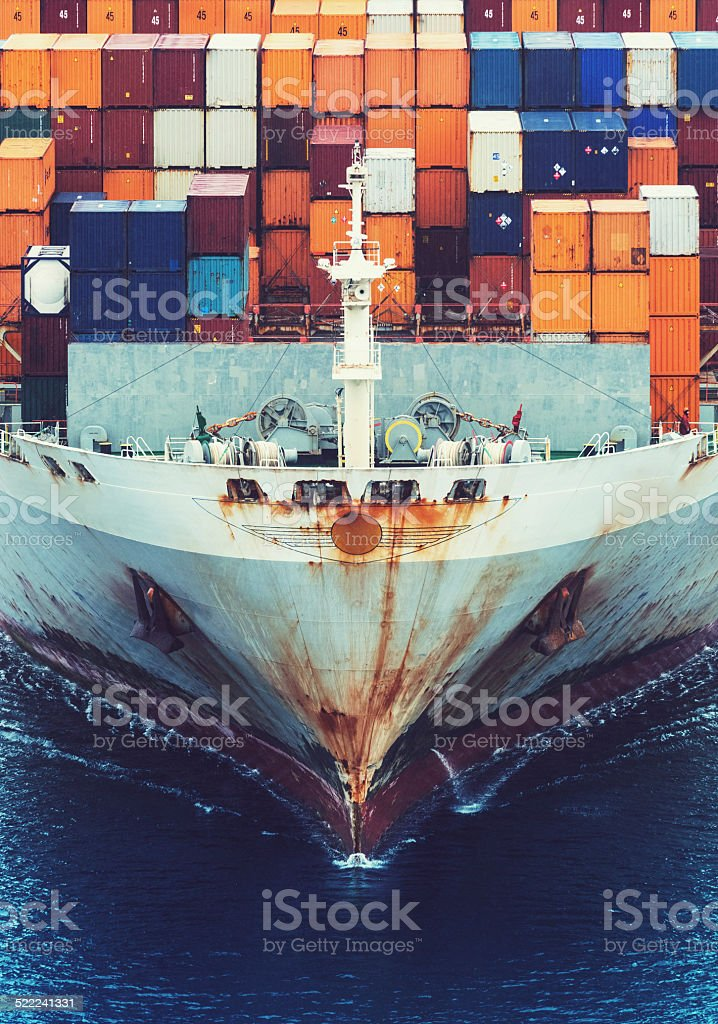 Container Ship's Bow stock photo