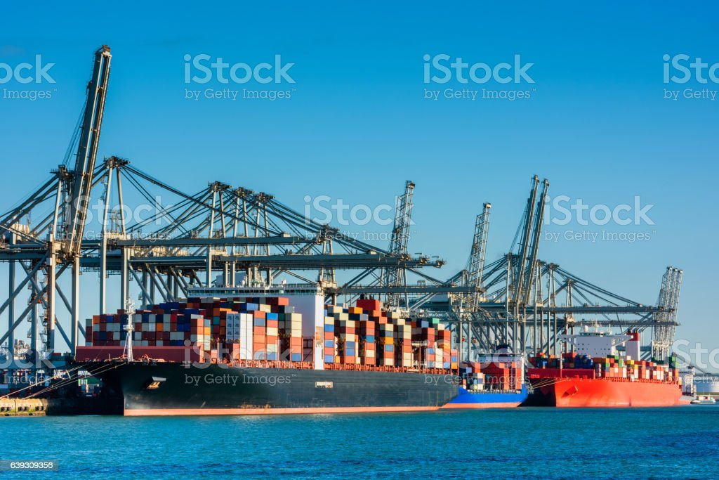Container Ships docked in Rotterdam Harbour stock photo