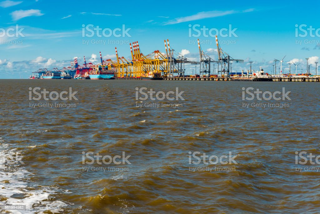 container ships in Bremerhaven harbor stock photo