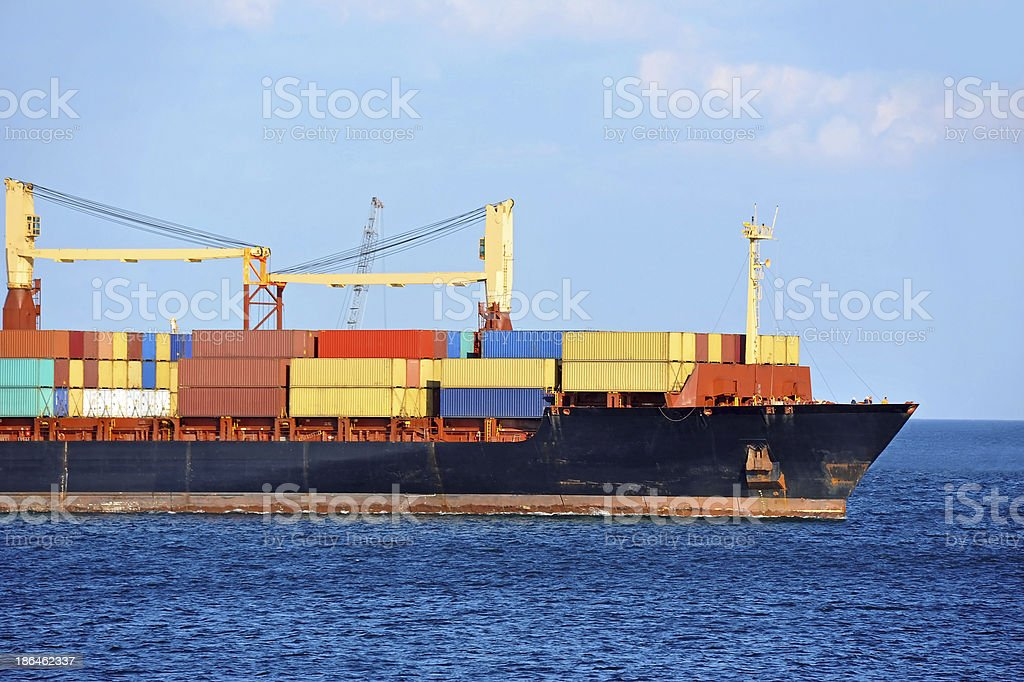 Container stack on freight ship royalty-free stock photo