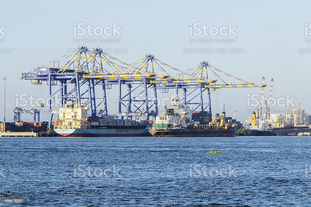 Container terminal at Kochi, India stock photo