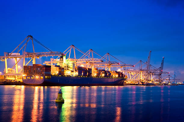 Container terminal at night stock photo