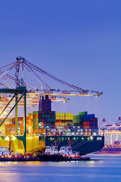 Container-terminal bei Sonnenuntergang – Foto