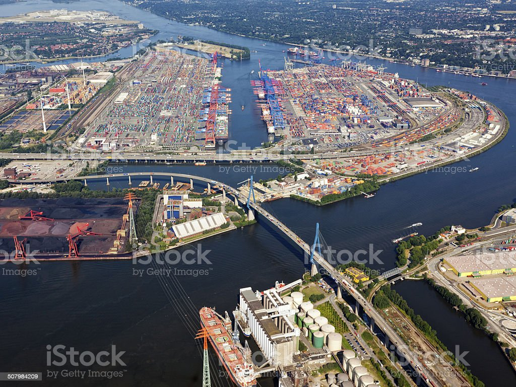 Container terminal at the Port of Hamburg, aerial view stock photo