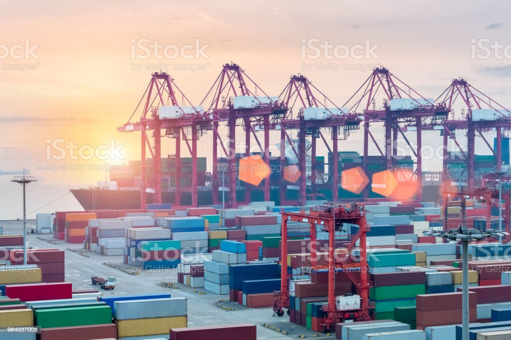 container terminal closeup - Royalty-free Business Stock Photo