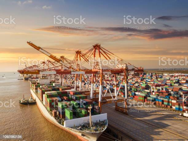 Container Terminal Handling Area Aerial View Stock Photo - Download Image Now