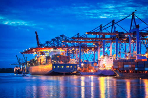 Container Terminal in Blue
