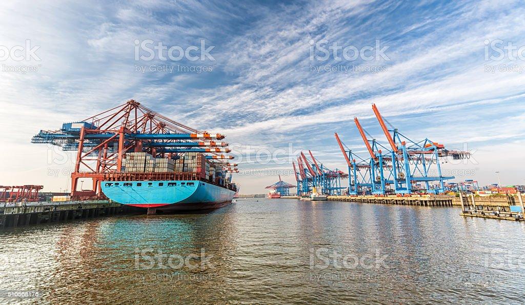 Container Terminal in Hamburg stock photo