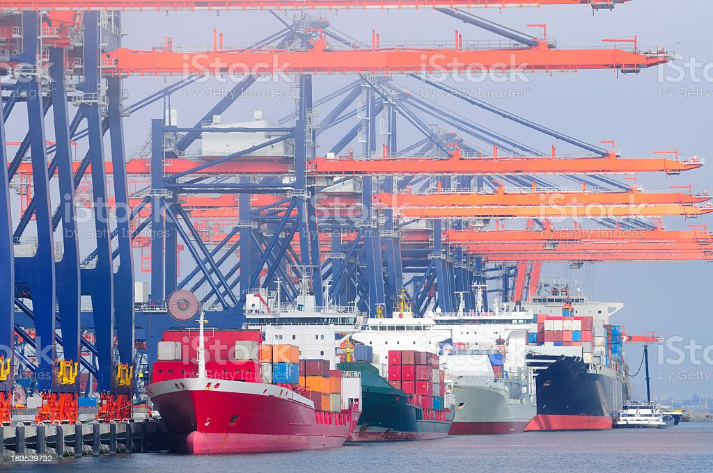 Container terminal in the harbor royalty-free stock photo