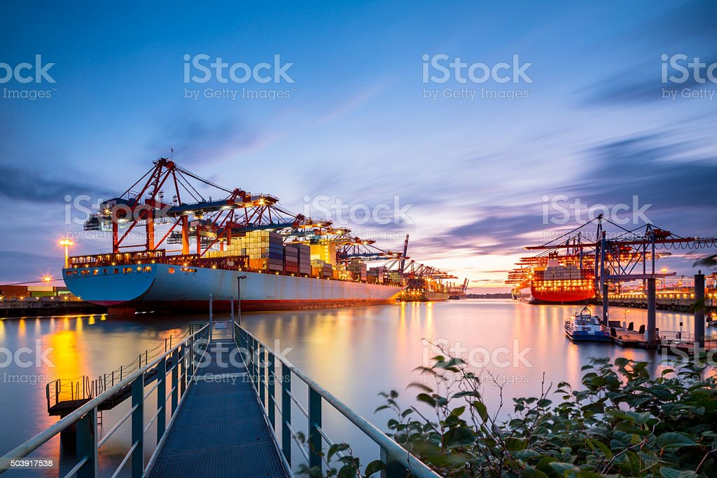 Hamburg Cargo terminal on a nice evening.