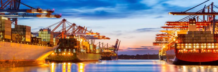 Hamburg Cargo terminal on a nice evening.