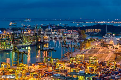 Aerial view of Singapore container terminal.