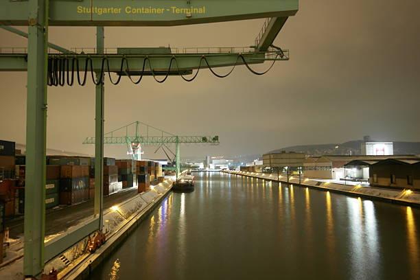 Container Terminal Stuttgart at night stock photo