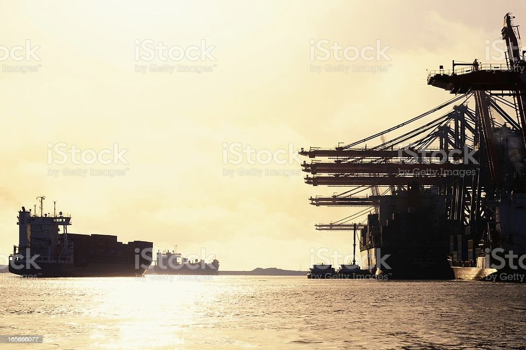 Container terminal sunset stock photo