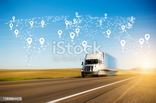 Container Truck on Highway with Polygon Network World Map Graphic and Location Pins.