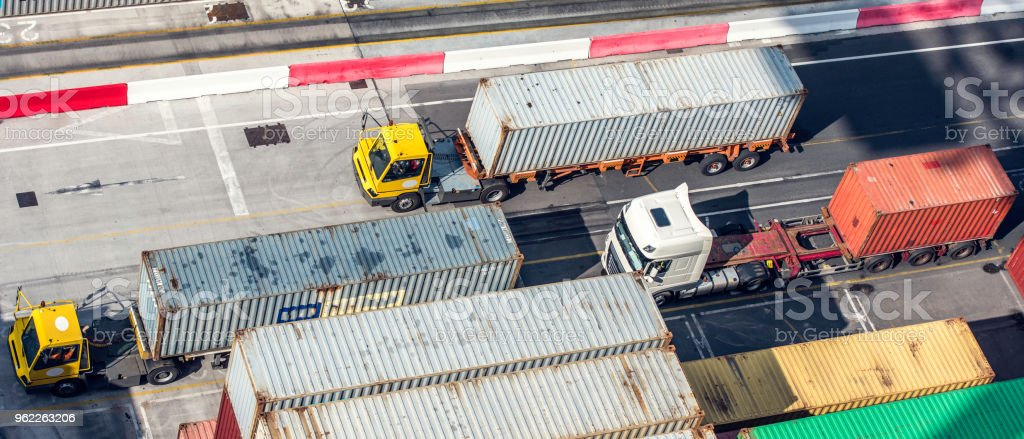Container trucks from above stock photo