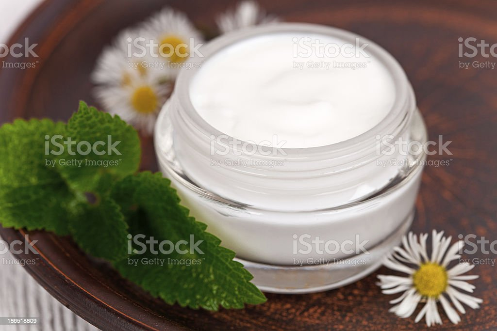 container with cream urtica and chamomiles royalty-free stock photo