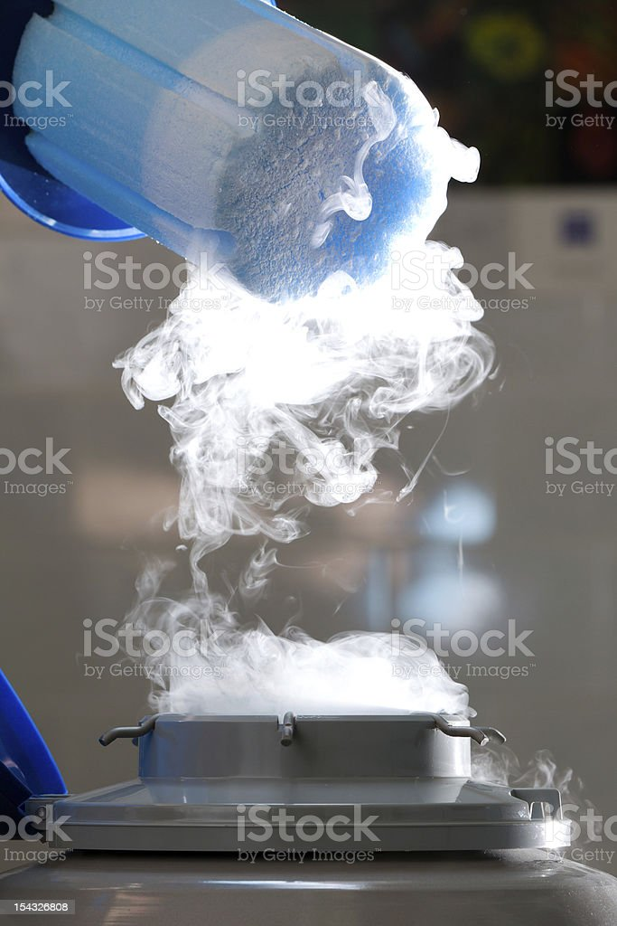 Container with liquid nitrogen, lot of vapour royalty-free stock photo