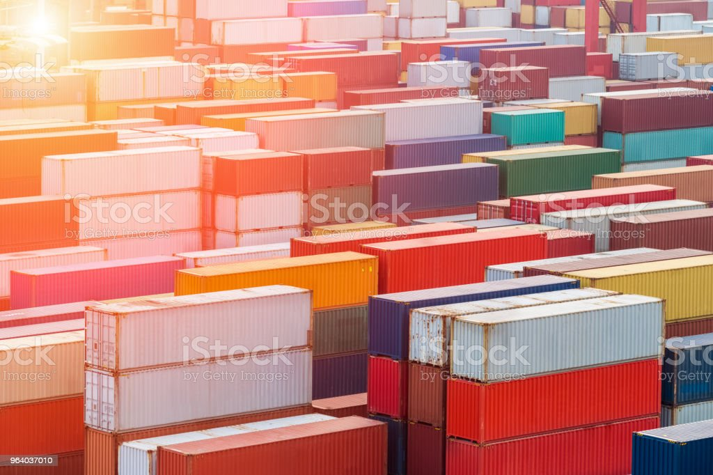container yard in sunset - Royalty-free Box - Container Stock Photo