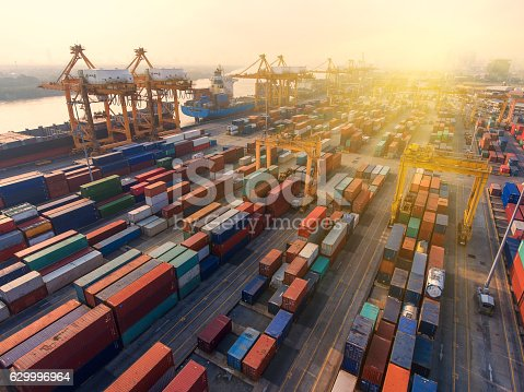 istock container,container ship in import export and business logistic. 629996964