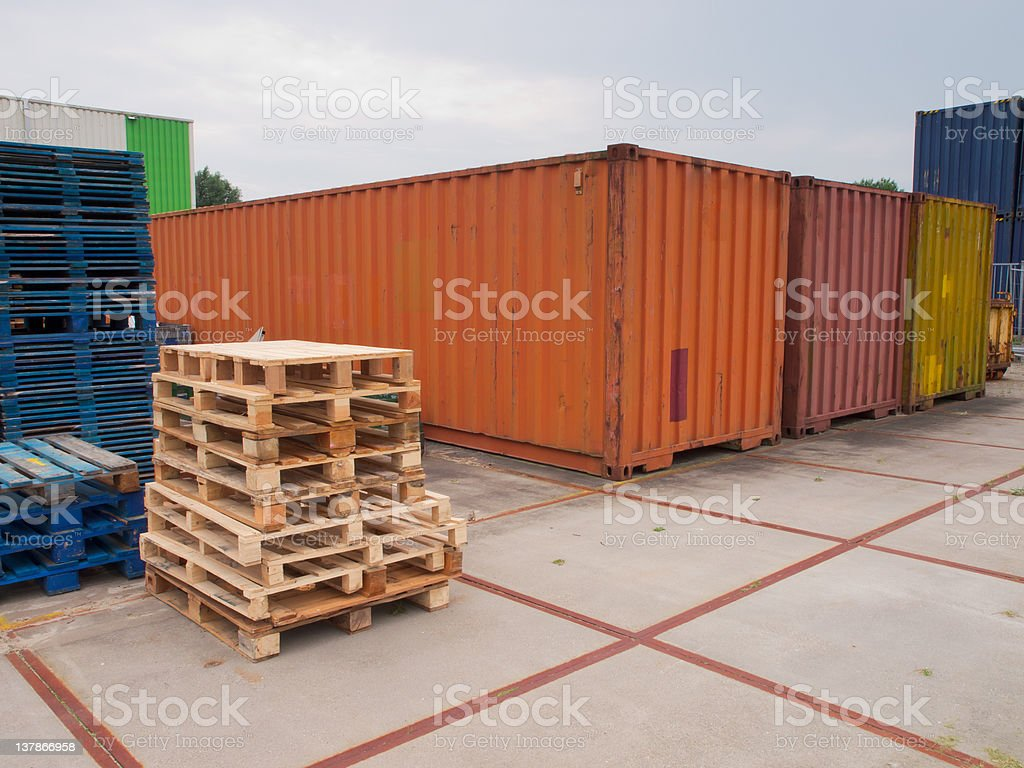 containers and pallets stock photo