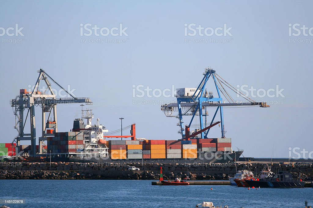 Containers at port royalty-free stock photo