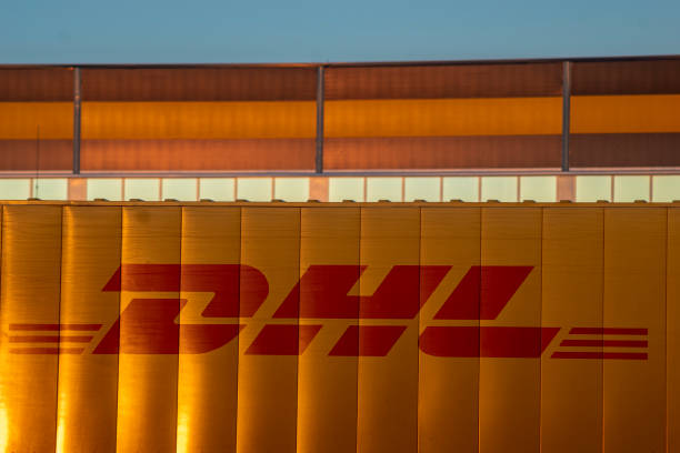 DHL containers at the Amazon logistics center in Szczecin, Poland