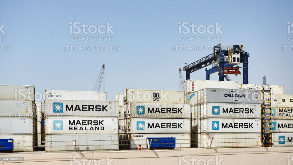 Containers at the Hutchison Ports Ajman. stock photo