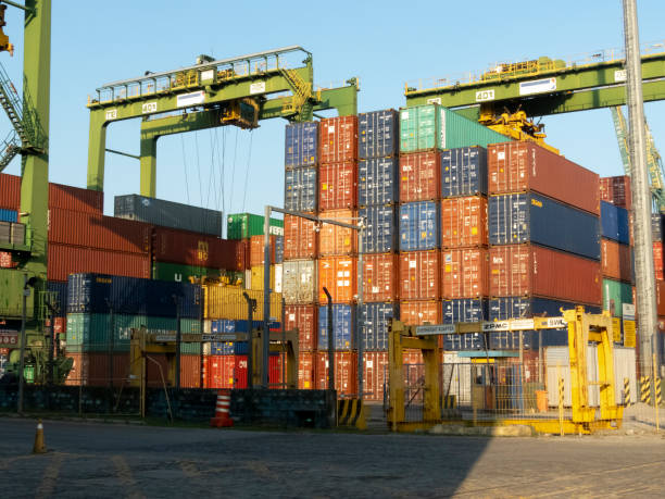 Containers being unloaded at the Port of Santos stock photo