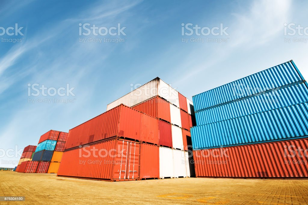 Containers box from Cargo freight ship for import export,logistic concept stock photo