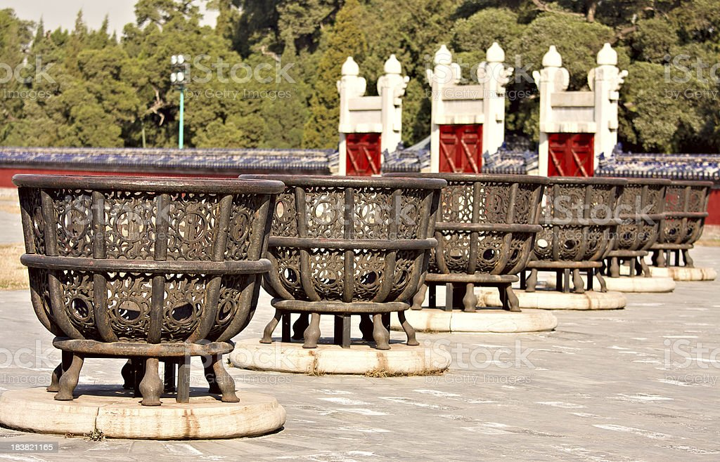 Containers for firewood at the Temple of Heaven, Beijing, China. royalty-free stock photo