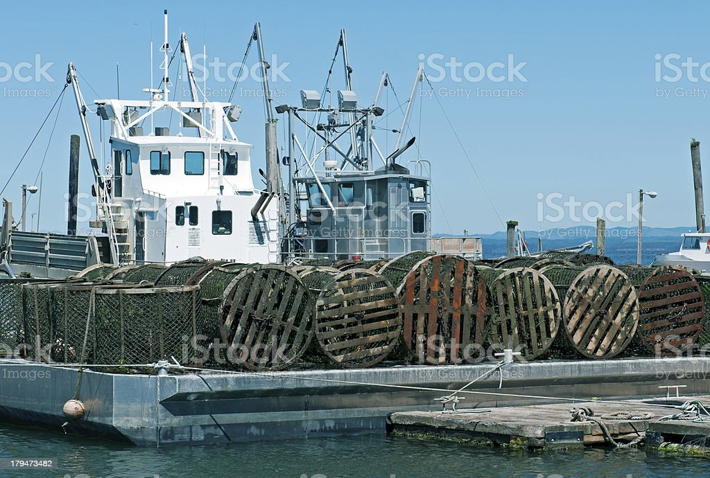 Containers for oyster larvae on barge in Washingston state royalty-free stock photo