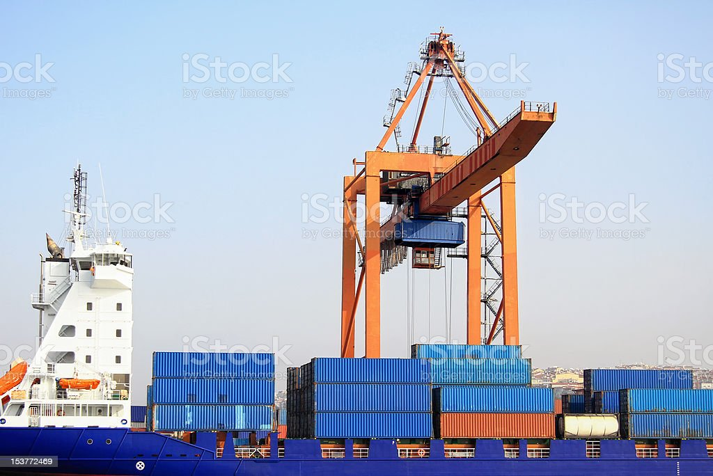 Containers in blue royalty-free stock photo